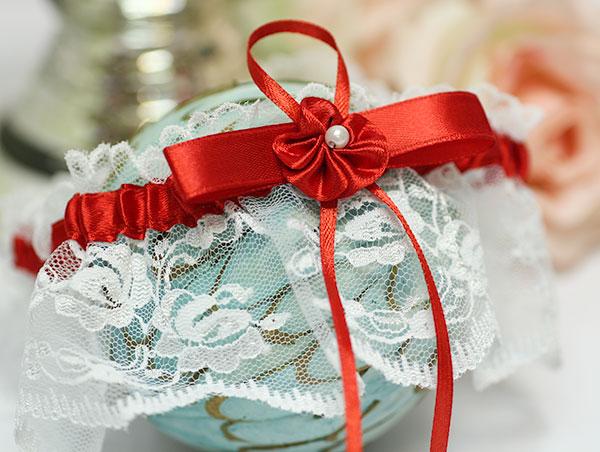 Подвязка для невесты Цветок (красный)