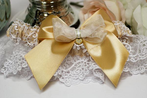 """Свадебная подвязка """"Золотое сердце"""" (золотой)"""