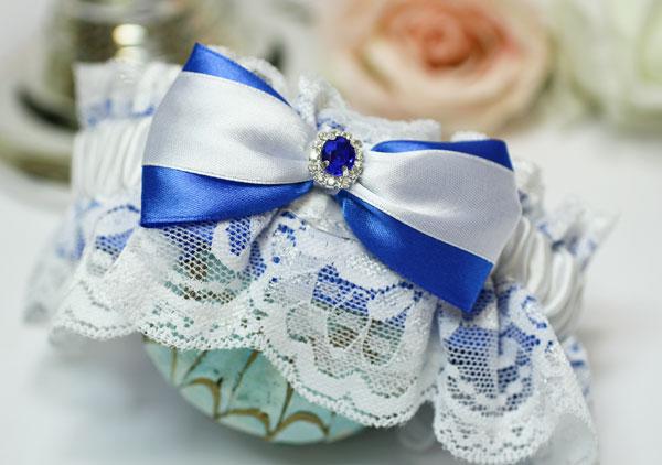 """Подвязка для невесты """"Афродита"""" (с кружевом) (синий)"""