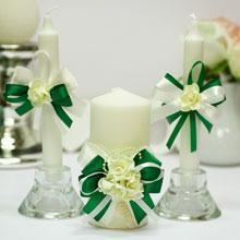 Домашний очаг + 2 свечи Romantic (айвори/изумрудный)