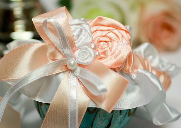 """Подвязка для невесты """"Медовый леденец"""" (персиковый)"""