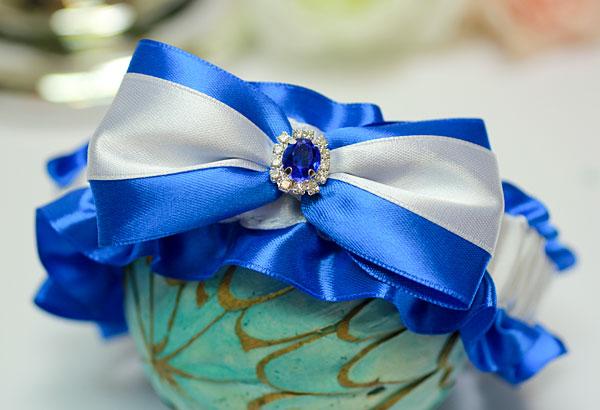 """Подвязка для невесты """"Афродита"""" (синий)"""