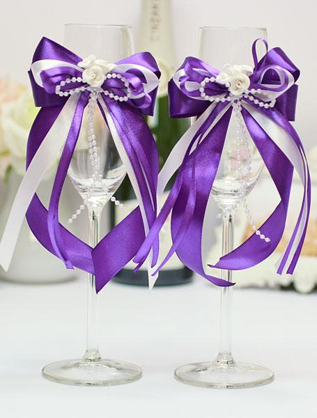 Свадебное украшение для бокалов Fantastic (2 шт) (фиолетовый)