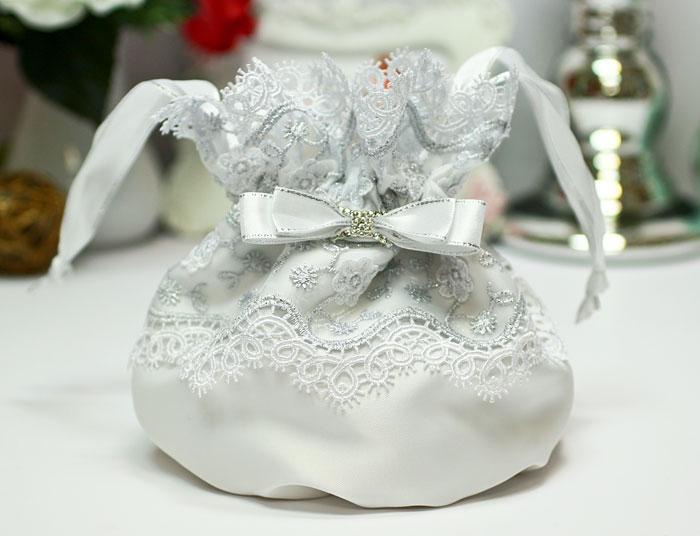 """Сумочка-мешочек для невесты """"Сказка"""" (серебро)"""