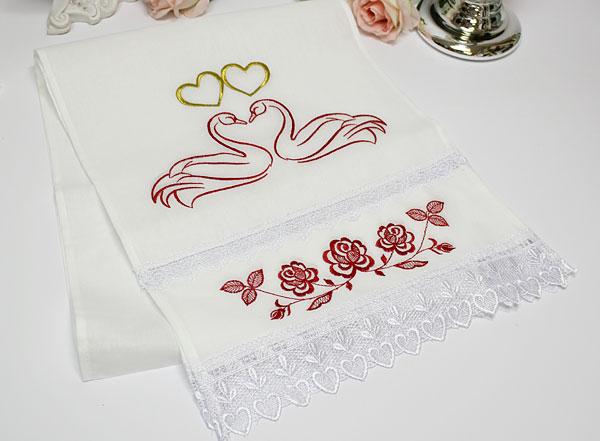 """Свадебный рушник для каравая """"Лебеди и розы"""" (хлопок)"""