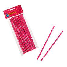 """Бумажные трубочки для коктейля """"Dots"""" (20 шт, розовые)"""