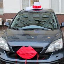 """АРЕНДА набор свадебных украшений на машину """"Невеста"""" (красные розы)"""