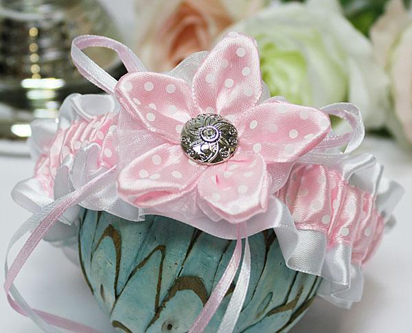 Подвязка на ножку Озорной горошек (розовый)