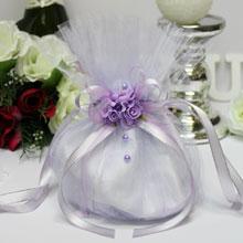 """Сумочка-мешочек для невесты """"Цветочная фантазия"""" (сиреневая)"""
