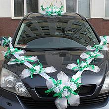 """Набор свадебных украшений на машину """"Лунная соната"""" (изумрудный)"""