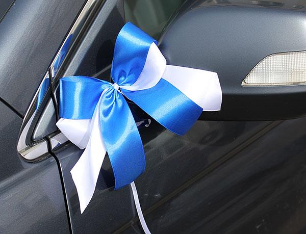"""Комплект бутоньерок на авто """"Фатиновая фантазия"""" (белый/синий) 2 шт"""