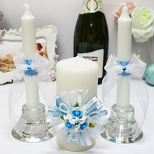 """Свадебные свечи """"Валенсия"""" (3 свечи, голубой)"""