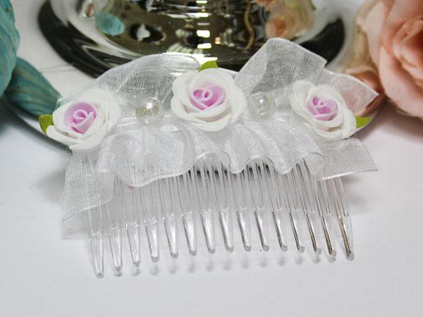 Свадебный гребешок Цветочный (бело-розовый)