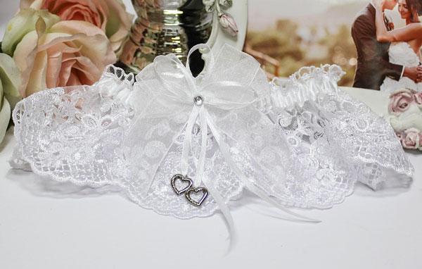 Подвязка свадебная Сердечки (белый)