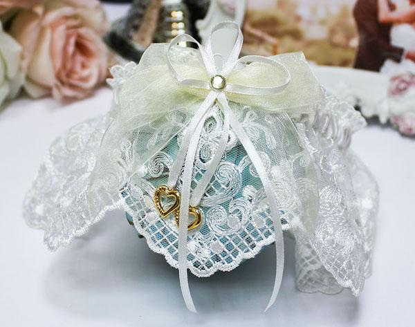 Подвязка свадебная Сердечки (айвори)