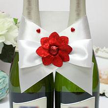 """Декор для шампанского """"Красный цветок"""""""