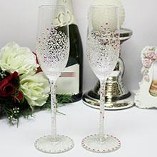 """Свадебные бокалы для молодоженов """"Нежность"""" (розовый)"""