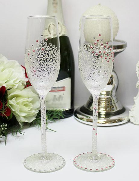 """Свадебные бокалы для молодоженов """"Нежность"""" (2 шт) (розовый)"""