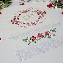 """Свадебный рушник """"Цветы и кольца"""" (хлопок)"""
