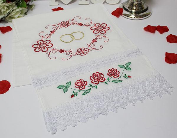 """Свадебный рушник """"Цветы и кольца"""" с вышивкой  (хлопок)"""