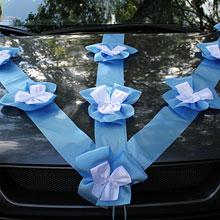 """Лента на свадебный автомобиль """"Банты"""" (3 луча, голубая)"""