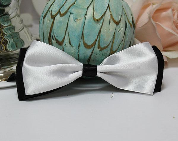 Галстук-бабочка для праздника, мальчишника, фотосессии (черно-белый)