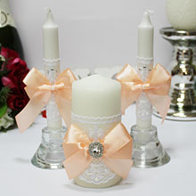 """Домашний очаг + 2 свечи """"Винтажный шик"""" (персиковый)"""