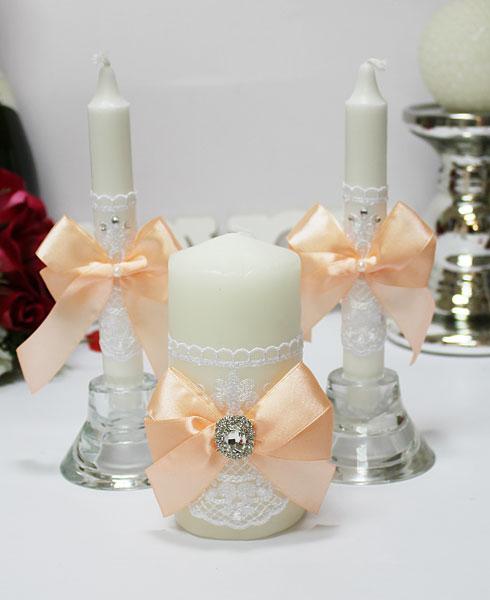 Домашний очаг + 2 свечи Винтажный шик (без подсвечников) (персиковый)