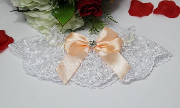 Подвязка для невесты Винтажный шик (персиковый)
