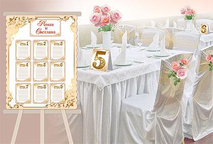 Набор для рассадки гостей (карточки для перечисления имен + номера столов)