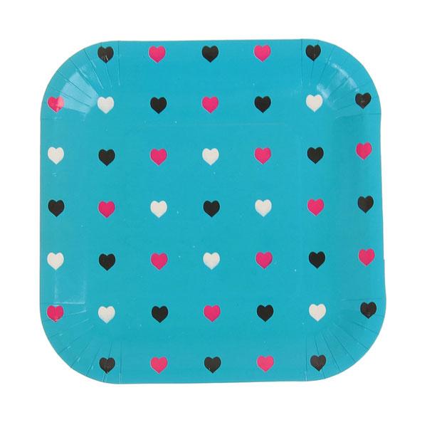 """Квадратные бумажные тарелки """"Сердечки"""" (6 шт, 18 см, голубые)"""