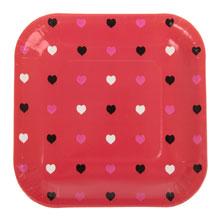 """Квадратные бумажные тарелки """"Сердечки"""" (6 шт, 18 см, красные)"""