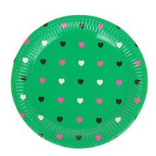 """Круглые бумажные тарелки """"Сердечки"""" (6 шт, 18 см, зеленые)"""