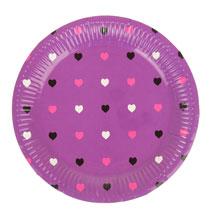 """Круглые бумажные тарелки """"Сердечки"""" (6 шт, 18 см, фиолетовые)"""