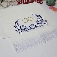 Свадебный рушник Гжель (хлопок)