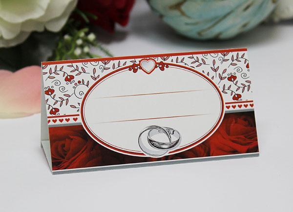 """Рассадочная карточка для гостей """"Пламенные розы"""" (красный)"""