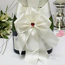 """Свадебное украшение для шампанского """"Рубиновое сердце"""""""