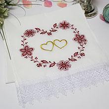 """Свадебный рушник """"Цветы и сердца"""""""