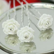 """Шпилька для прически невесты """"Карамельная роза"""""""