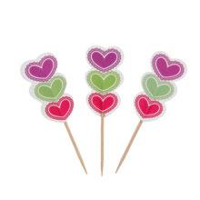 "Шпажки для канапе ""Цветные сердечки"" (12 шт)"