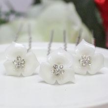 """Шпилька для невесты """"Лаковый цветок"""" (белый)"""