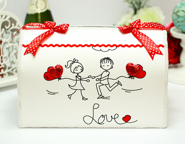 """Свадебная копилка для конвертов """"Это любовь"""" (красный)"""