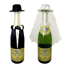 """Шляпки для свадебных бутылок """"Молодожены"""""""