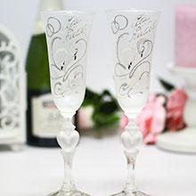 """Свадебные бокалы """"Совет да любовь"""" (2 шт, лебеди, матовое стекло)"""