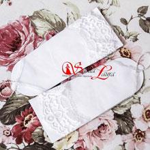 Свадебные перчатки короткие фатиновые с кружевом (айвори, 48-50 размер)