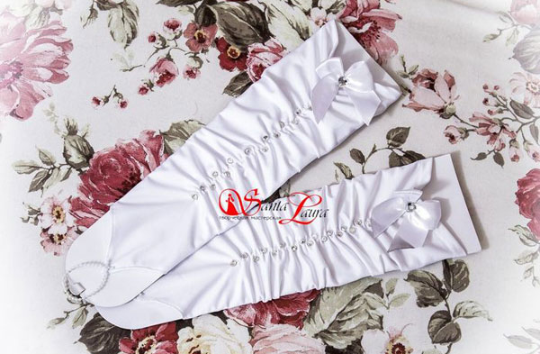 Свадебные перчатки со стразами (белый, 40-46 размер)