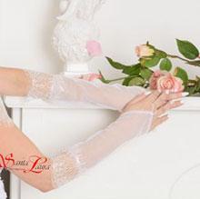 """Свадебные перчатки для невесты """"Шанталь"""" (белый, 44-46 размер)"""