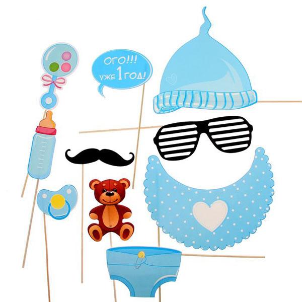 Набор фотобутафории для 1 дня рождения (голубой)