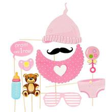 Набор фотобутафории для 1 дня рождения (розовый)