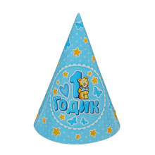 Набор бумажных колпаков 1 годик (6 шт, голубой)